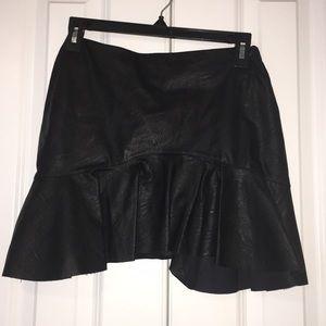 Zara faux leather ruffled mini skirt.